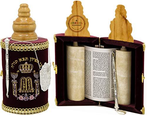 Torah Scroll Complete Sefardic Sefer Torah Children's Torah Maroon Velvet (Small Sephardic Torah 10
