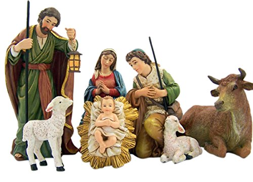 Michael Adams Detailed Resin Christmas Nativity Figurine Statue Set, 5 Inch (6-Piece)