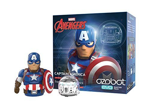 Ozobot Evo Starter Pack, w/ bonus connectable smart skin, Captain America, Marvel's The Avengers (Limited Edition)
