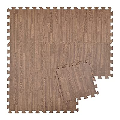 "Aspire 12"" x 12"" x 3/8"" Protective Floor Mat Eva Foam Tiles Wood Grain Exercise Mat for Playrooms"
