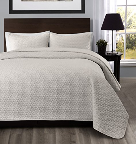 Madison Full/Queen Size Bed 3pc Quilted Bedspread Ivory Color Bed Cover Set, Thin Extra Light weight and Oversized coverlet