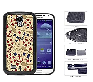 Nautical Anchor Sailor Wooden Pattern [Samsung Galaxy S4 I9500] 2-piece Dual Layer High Impact Black Silicone Cover