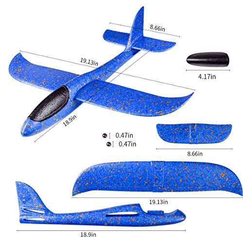 Refasy Foam Airplanes for Kids Children 18.9inch Gliders Airplane Toy Set Hand Throwing Challenging Model Foam Aircarft Two Flight Modes Best Outdoor Sport Flying Plane Toys for Kids Gift Blue by Refasy (Image #5)