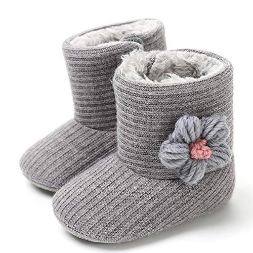 LIVEBOX Newborn Baby Cotton Knit Booties,Premium Soft Sole Flower Anti-Slip Warm Winter Infant Prewalker Toddler Snow Boots Crib Shoes for Girls Boys