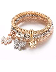Three elegant bracelets with a butterfly-shaped pendant in crystal with three colors