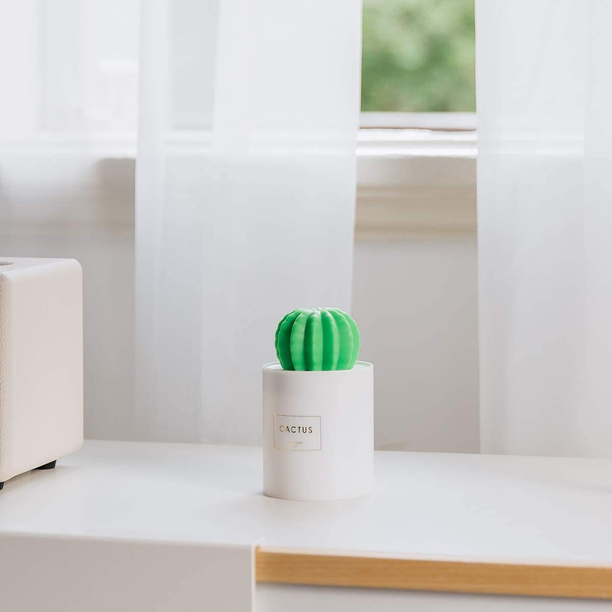 Tobnone Cactus Humidifiers with Night Light, Mini Cool Mist Humidifier 280ml USB Portable Air Diffuser, Auto Shut-Off, Best Gift for Christmas, for Bedroom, Baby, Travel, Desktop, Home, Office