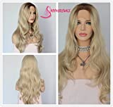 Hot Sale Brown Ombre Blonde Weave Hair Glueless Synthetic Lace Front Wigs For Sale