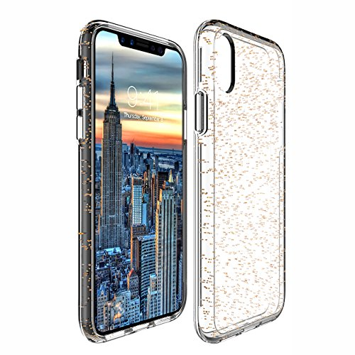 iPhone X Case, Soundmounds Luxury Glitter Sparkle Bling Designer TPU Case [Slim Fit, Hard Back Cover] Shining Fashion Style for Apple iPhone X. (Golden One)