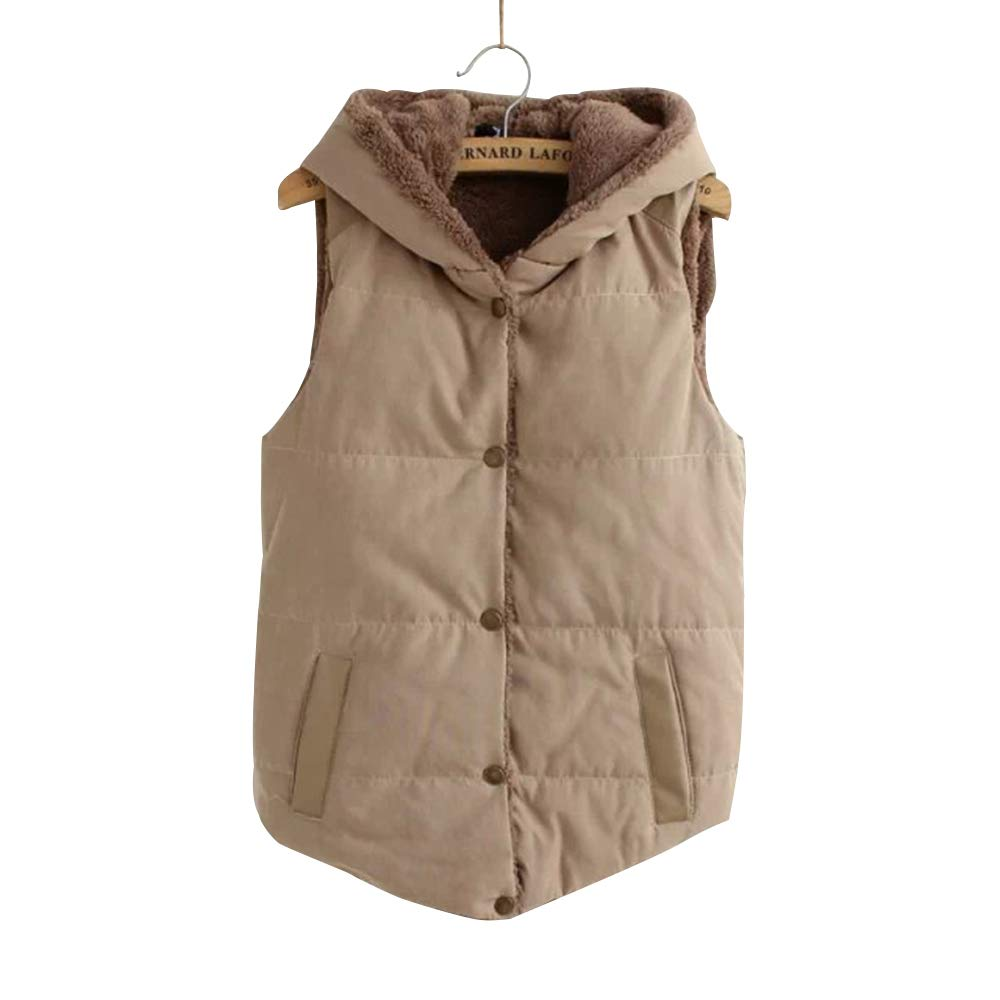 BOZEVON Womens Sleeveless Fleece Jacket - Button Hooded Gilet Winter Vest Slim Waistcoat Vest Jacket