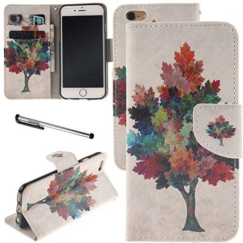 iPhone 6/iPhone 6S Schutzhülle, urvoix (TM) Ständer Leder Brieftasche Fall–Colorful Ahorn Baum Flip Cover für 11,9cm iPhone 6/6S (nicht für 6Plus)