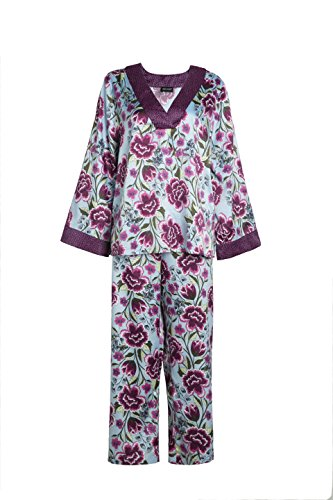 Womens' Summer Sleepwear 3/4 Sleeves, Nightwear Floral Print Silk Pajama V Neck Pajamas Sets Homewear Purple Color (S)