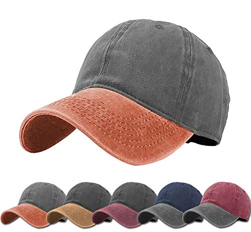 Aedvoouer Men Women Baseball Cap Vintage Cotton Washed Distressed Hats Twill Plain Adjustable Dad-Hat (Dark Grey+Orange) ()