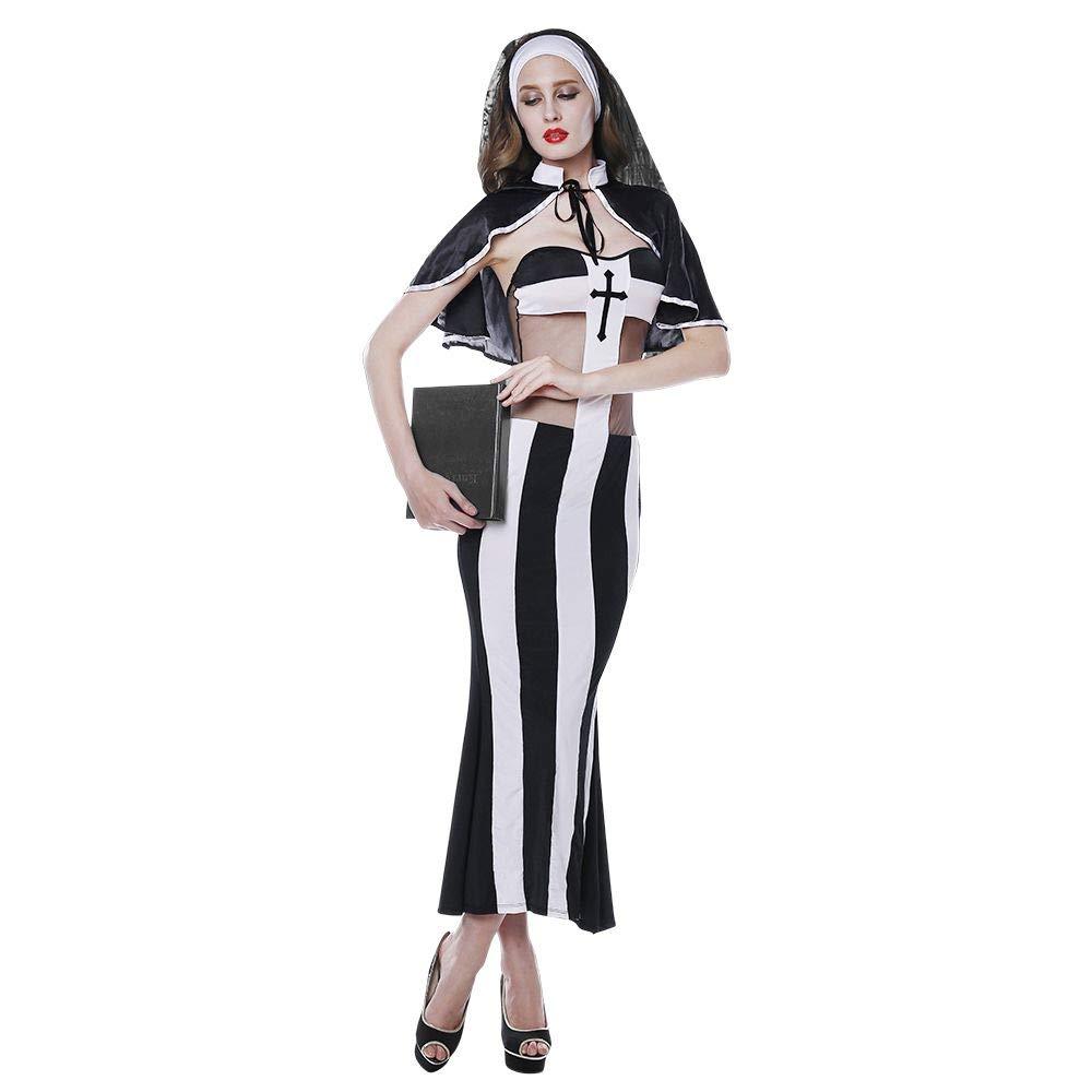 SEY TOYS Sexy Monjas Negro Siamés Sexy Monjas Sexy Traje De Halloween Diversión Uniforme 54b5e7