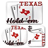 3 Piece Bath Mat Rug Set,Poker-Tournament-Decorations,Bathroom Non-Slip Floor Mat,Texas-Holdem-Theme-Pair-of-Aces-with-Map-Winning-Hand-Decorative,Pedestal Rug + Lid Toilet Cover + Bath Mat,Red-Black-