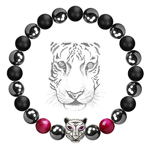 Cat Healing Stone Rose (Karseer White Tiger Head Anxiety Bracelet, Crystal and Healing Stones Rose Tiger Eye Magnetic Hematite Black Agate Therapy Energy Spirit Animal Stretch Bracelet for Women Teen Girls, Charkra Bracelet)