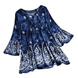 Women's Summer Boho Ethnic Printed V Neck 3/4 Bell Sleeve Pleated Flared Casual Buttons Swing Tunic Blouses Tops