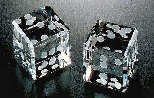 Dice Set Gift Box (Amlong Crystal Pair of Crystal Dice Paperweight with White Dots 1.5