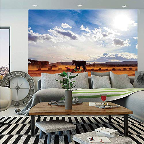 SoSung Western Decor Removable Wall Mural,Horse in Monument Valley Open Sky with Clouds in Arizona America Landscape,Self-Adhesive Large Wallpaper for Home Decor 66x96 inches,Cream Blue