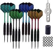 12Pcs Steel Tip Darts Set - 22g Professional Dart Accessories Including Aluminum Shafts, Flights, Barrels, Rub