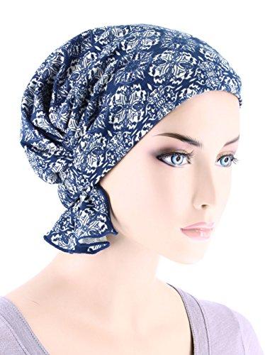 Abbey Cap Womens Chemo Hat Beanie Scarf Turban Headwear For Cancer Blended Knit Medallion Blue