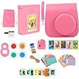 Fujifilm Instax Mini 9 - Camera Accessories Bundle 16 Piece Kit Includes: Flamingo Pink Protective Case + Strap, Photo Albums, Keychain, 60 Stickers, Hanging Frames, Selfie Lens, Gift Box