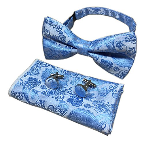 Wool Blue Powder (Boy Light Blue Silver Bow Ties Regular Soft Formal Dinner Party Dating Neckwear)