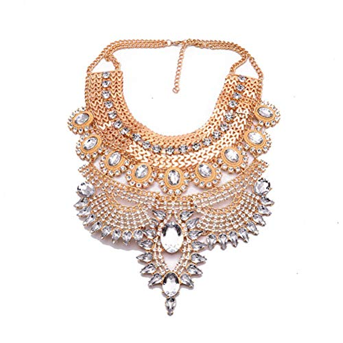NABROJ Fashion Chunky Gold Statement Necklace Choker De Cristal Costume Bling Silver Necklace Big Drag Queen Jewelry for Women 1 Pc-HL23 Gold Silver ()