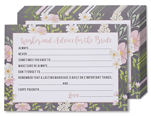 Marriage Advice and Well Wishes Cards for the New Bride, Wedding Reception and Bridal Shower Game Activity Cards, Includes 50 Vintage Rustic Floral Cards - 5 x 7 Inches