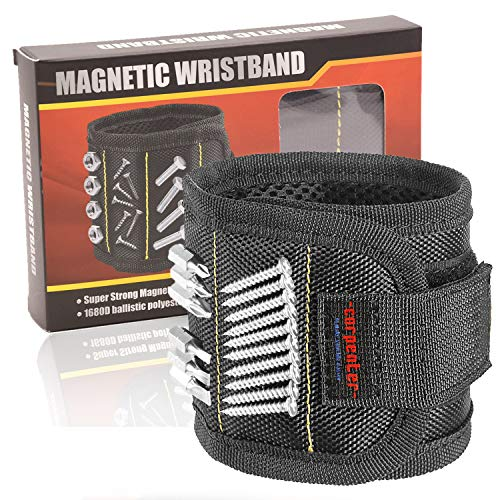 Carpenter Magnetic Wristband For Holding Tools - Magnetic Tool Holder - With Powerful Magnets Holder Construction tools holding for screws nails best gifts for men man dad husband workers woodworker