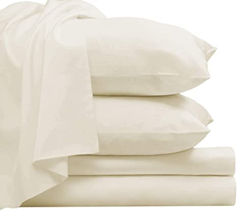 Percale Cotton Bedding Sheets Set 800 TC In Ivory All Sizes And Deep Pocket