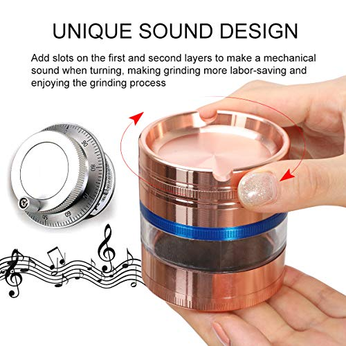 """HOKirin Herb Grinder,4 Piece 2.5"""" Mechanical Sound Spice Grinder with Magnetic Lid, Metal Zinc Alloy Herb Ginder with Pollen Catcher and Little Brush, Visible Large Spice Crusher,Rose Gold"""