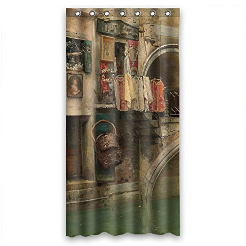 NASAZONE Beautiful Scenery Landscape Painting Polyester Christmas Shower Drape Width X Height / 36 X 72 Inches / W H 90 By 180 Cm For Relatives Kids Girl Wife Kids Girls. Durable. Fabric Material