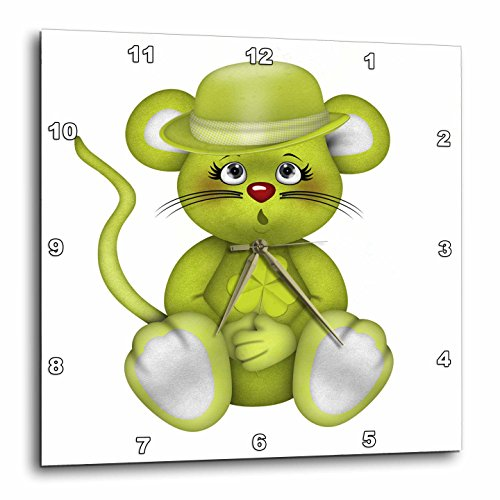3dRose Anne Marie Baugh - St. Patricks Day - Cute Green St. Patricks Day Mouse Illustration - 13x13 Wall Clock (dpp_264996_2)