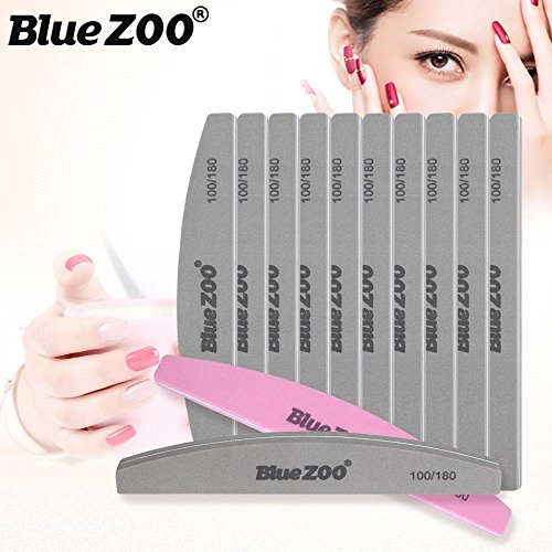 BlueZOO Professional Nail File Sponge 100/180 Grit Washable Double Sided Nail Buffer File Manicure Tools-Grey-10Pcs (Sponge Board)