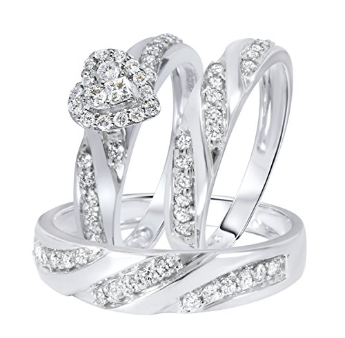 Nisiddh Inc 1.00 Ct White Simulated Diamond Heart Shape Trio Set 14K White Gold Finish 925 Sterling Silver Engagement Ring His & her Wedding Band