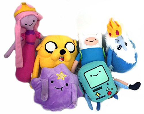 Adventure Time Plush Toy Assortment, Set 6, Ice King, Jake, Finn, Lumpy, Space Princess, Beemo BMP (Cartoon Charachters)