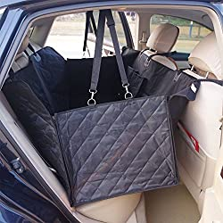 Waterproof Dog Car Seat Cover Backseat Large Pet Seat Cover Hammock Mat for SUVs Trucks with Nonslip Backing With Anchors with Seatbelt Quilted Black 140cmx150cmx45cm