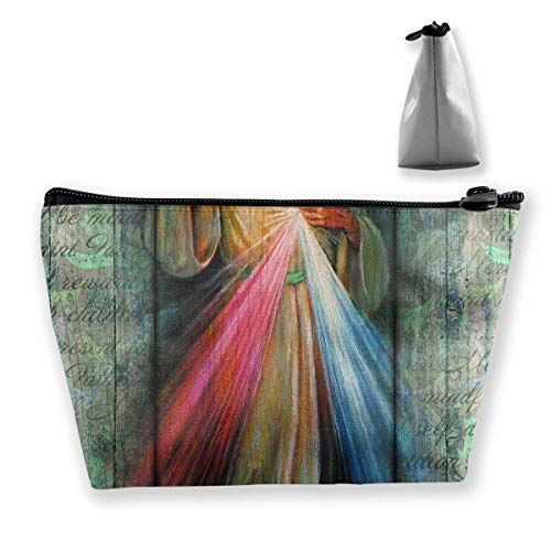 - Rustic Divine Mercy Trust In Jesus Cosmetic Bags Portable Travel Makeup Pouch Toiletry Organizer