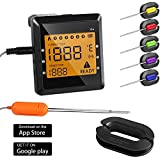 (US) Bluetooth Meat Thermometer with 6 Probes, Wireless APP Control Remote Thermometer Digital Cooking Thermometer for Grilling, Alarm Function for BBQ Smoker Oven Kitchen, Support IOS, Android