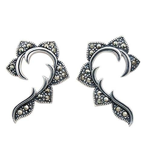 NOVICA Marcasite .925 Sterling Silver Button Earrings, 'The (Novica Marcasite Earrings)