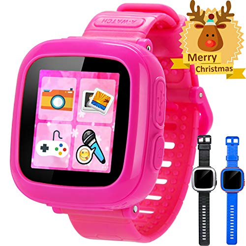 GBD Game Smart Watch for Kids Girls Boys with Camera 1.5'' Touch 10 Games Pedometer Timer Alarm Clock Learning Toys Wrist Watch Bracelet Health Monitor for Thanksgiving Christmas Birthday Gifts (Pink)
