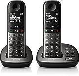 Philips XL4952DS/38 schnurloses Telefon mit Anrufbeantworter (4,8 cm (1,9 Zoll) Display, HQ-Sound, Mobilteil mit Freisprecheinrichtung)schwarz