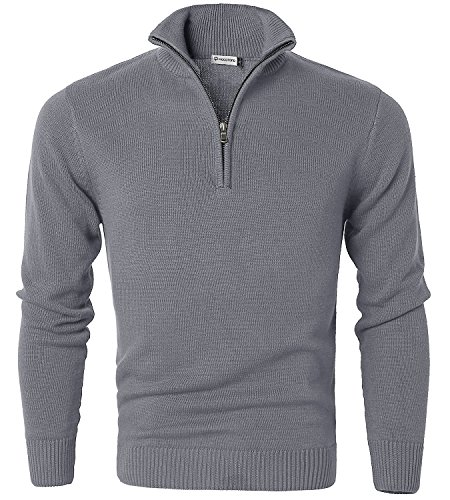 MOCOTONO Mens Long Sleeve Turtle Neck Zip Pullover Sweater Light Grey X-Large