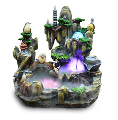 GL&G Creative Resin Crafts rockery Water Bonsai Home office decoration Fish pond Indoor Tabletop Fountains humidifier High-end Business Lucky gift,382239CM by GAOLIGUO