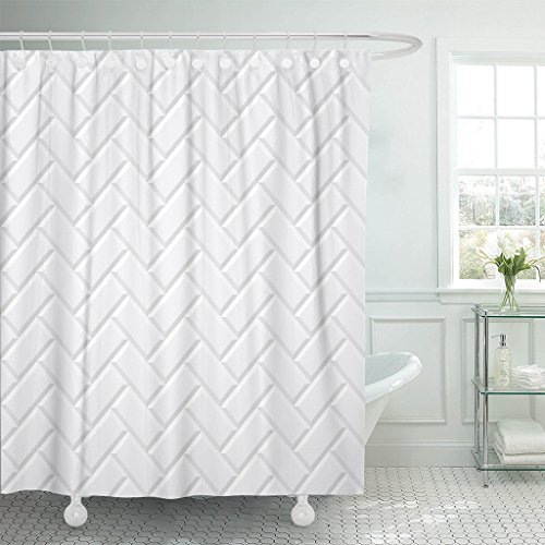 Emvency Shower Curtain Subway White Tiles Ceramic Brick Diagonal Pattern Metro Floor Waterproof Polyester Fabric 60 x 72 inches Set with Hooks