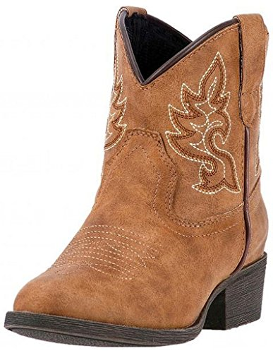 Laredo Girl's 6'' Chloe Round Toe Western Fashion Boots, Tan Man Made Leather, 13 Little Kid (Round Toe Girls Boots)