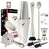 Full Professional Boston Cocktail Set by BARTENDER SOUL - 18 & 28oz 0.8mm Double Flair Weighted Shaker, Hawthorne and Fine Strainers, Jigger, Muddler, Spoon and Pourers - All 18/8 Quality Steel Kit