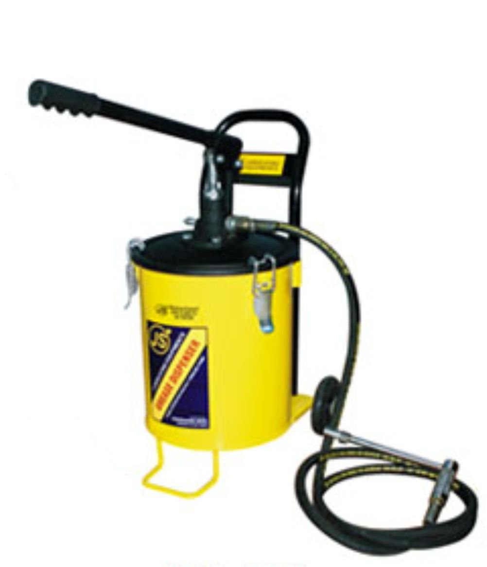 JS Hand Operated Bucket Grease Pump With Wheel (Capacity 10Kg)