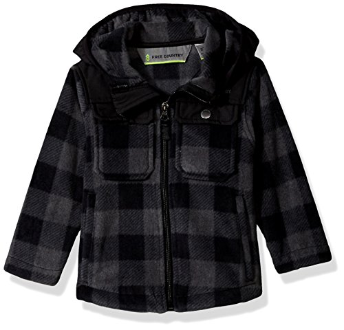 - Free Country Boys Toddler Buffalo Plaid Fleece Hoody, Neutral Grey, S(2T)