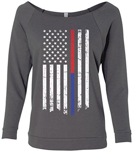 Threadrock Women's Thin Red & Blue Line American Flag Raw-Edge Raglan Shirt M (Raw Edge Raglan)